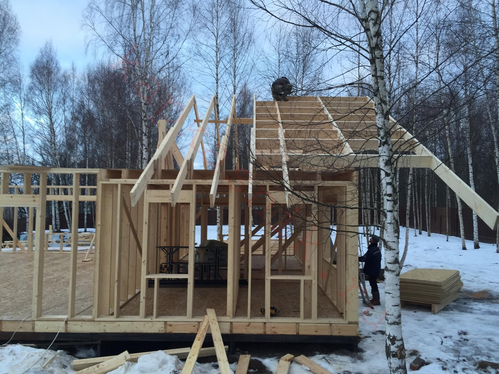 сборка перекрытия и крыши